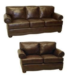 Delightful Shoreline Chocolate Italian Leather Sofa And Loveseat   Overstock™ Shopping    Great Deals On Sofas