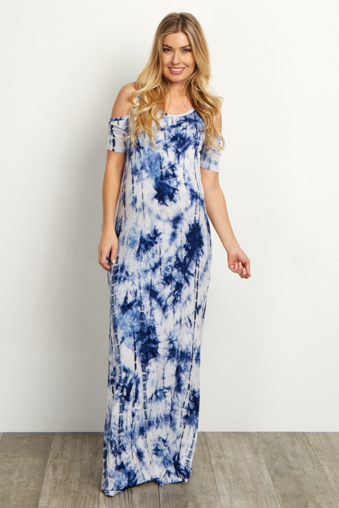 923c96d3a24b0 One of our favorite retro prints combined with a trendy cold shoulder style  has us in love with this maternity maxi dress. A breezy side slit detail  keeps ...