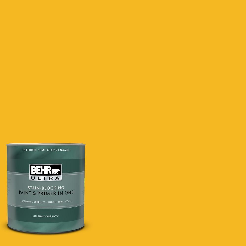 Behr Ultra 1 Qt Home Decorators Collection Hdc Md 02a Yellow Groove Extra Durable Semi Gloss Enamel Interior Paint Primer 375304 The Depot Premium Plus