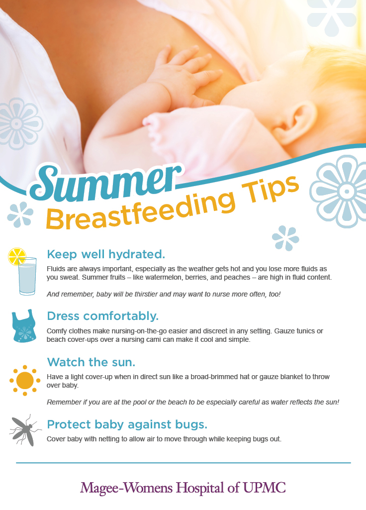 As the weather gets hotter, breastfeeding with your little one may pose some challenges. Try incorporating some of these tips into your routine: http://bit.ly/1nEknQm