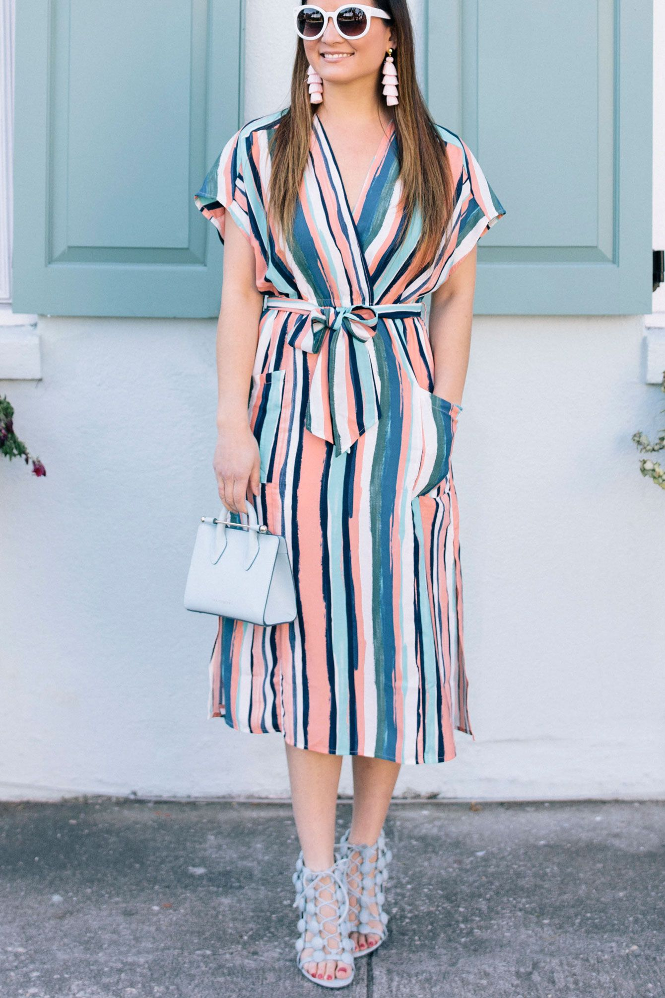 Multicolor Striped Wrap Dress In Charleston Style Charade Casual Work Dresses Wrap Dress Black Dress Outfit Casual [ 2009 x 1340 Pixel ]