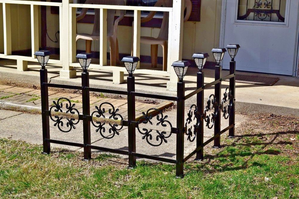 New Wrought Iron Fence Metal Solar Light Entryway Sidewalk