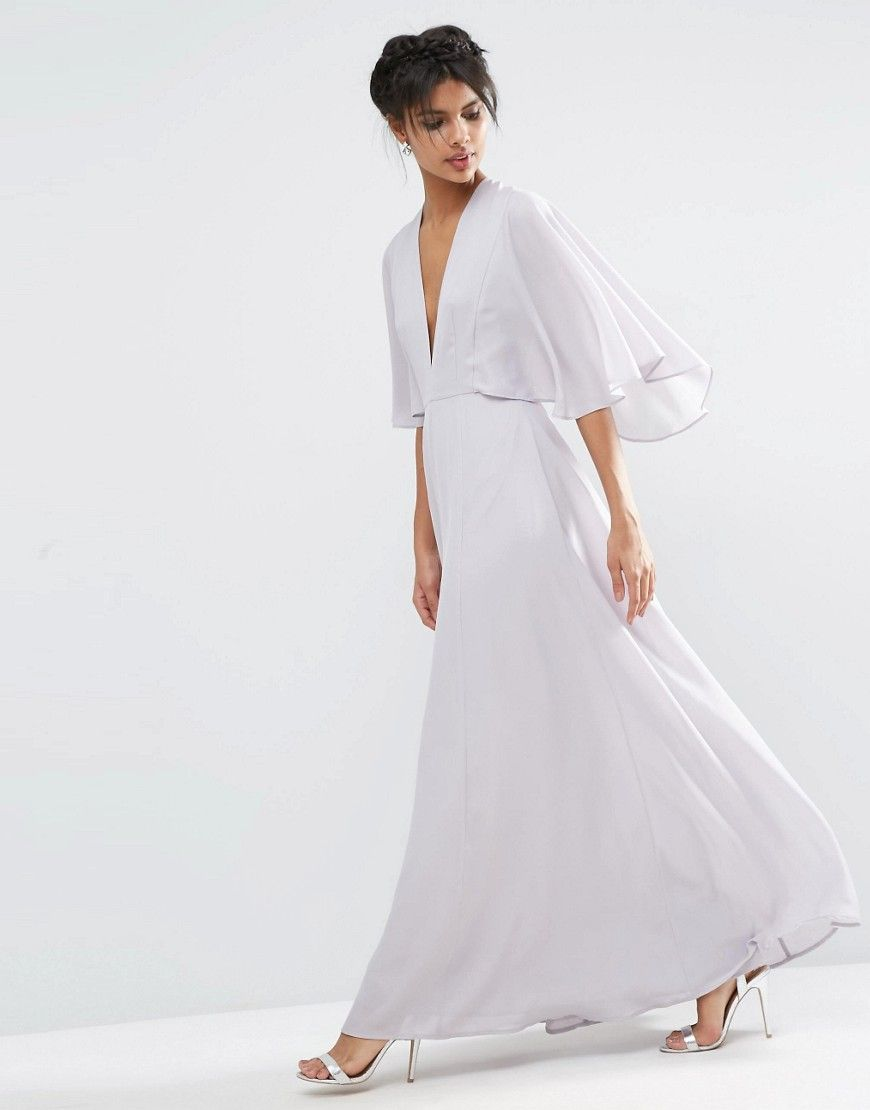 Image of asos deep plunge cape sleeve maxi dress elegance now