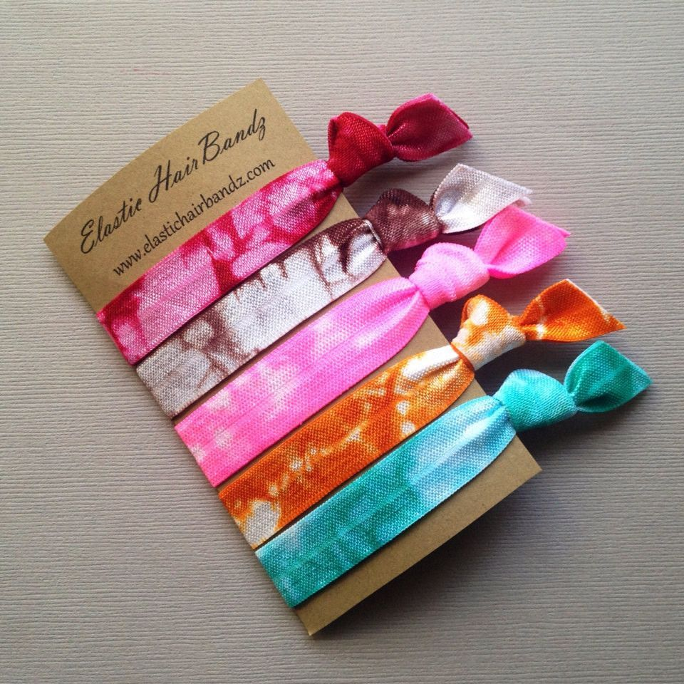 5 of Elastic Hair Bandz Hand Dyed hair ties. Heat Sealed to help prevent  fraying 8a7f4343699