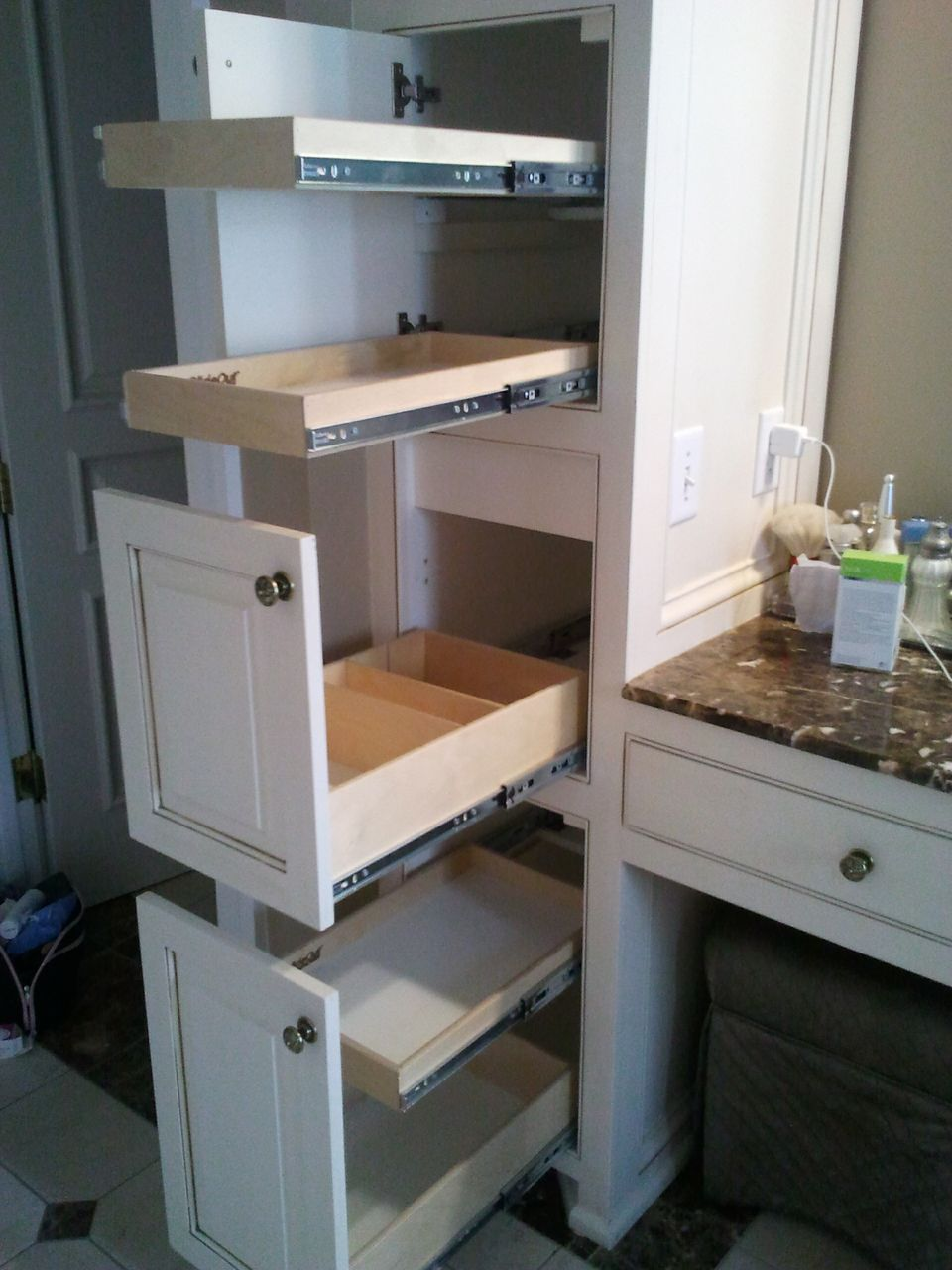 Modern bathroom storage cabinet - Need More Vanity Storage Space Call Shelfgenie Of Baltimore Get Slide Out Shelves For Your Perry Hall Home Glide Out Shelves