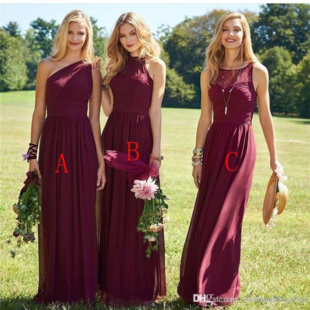 Burgundy Long Bridesmaid Dresses Beach Wedding Party Evening