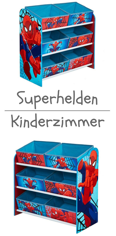 Spider Man Regal zur Spielzeugaufbewahrung mit sechs Kisten für ...