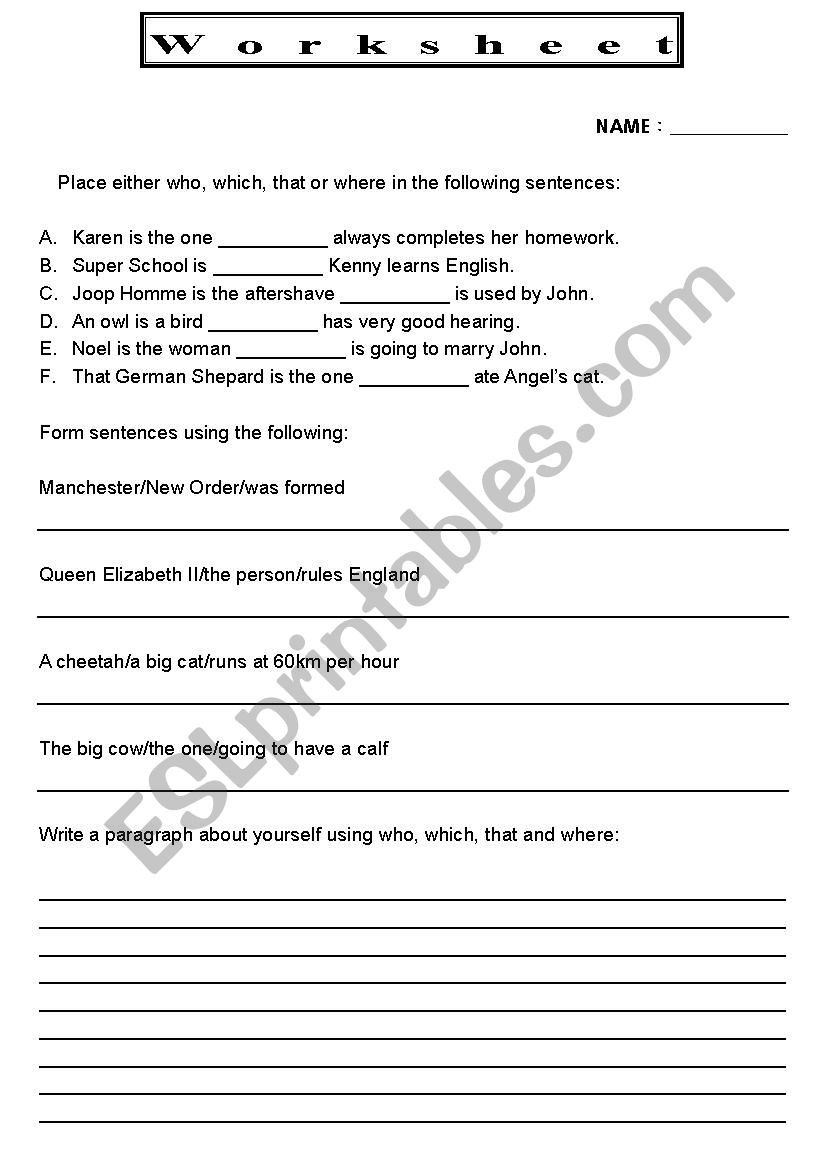 small resolution of Relative Pronouns Worksheet 4th Grade   Pronoun worksheets