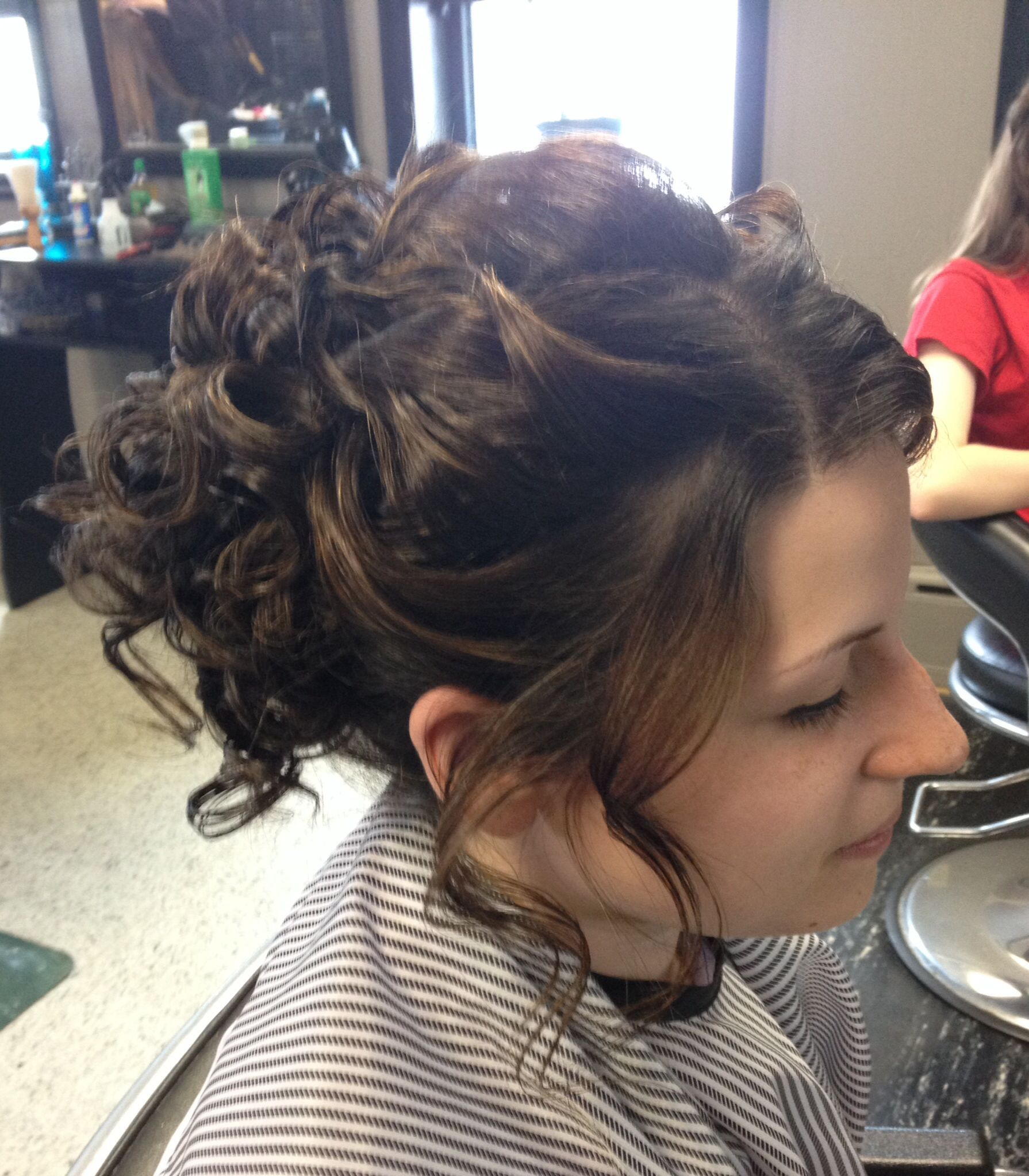 Up do style for wedding or prom. Long thick hair ...