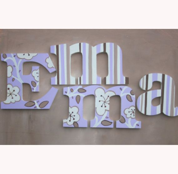 Hand Painted Wooden Letters, Name Hangings - Lilac Flowers for Girls Room or Nursery Room by www.caribimbi.com