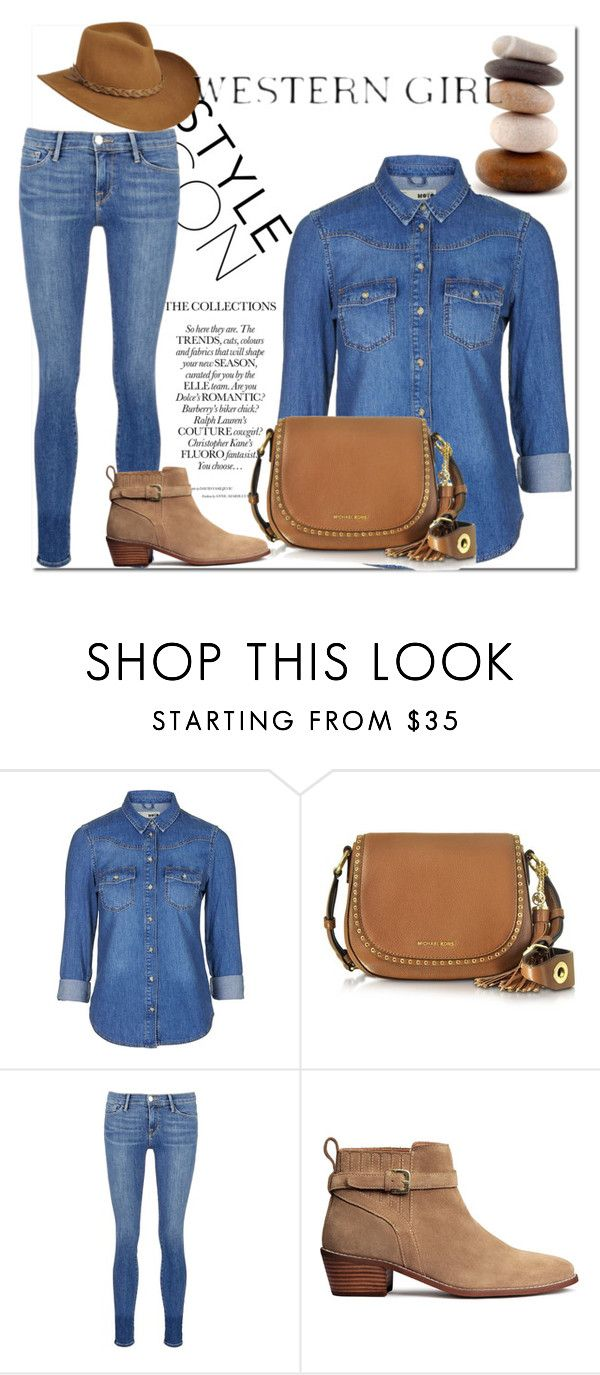 """""""Western #44 (Kayla)"""" by tori-kaylabeauty ❤ liked on Polyvore featuring Topshop, Michael Kors, Frame Denim, H&M and Master Hatters of Texas"""