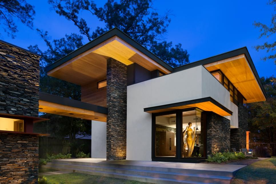 Cantilevered Modern Home With Stacked Stone Arquitetura