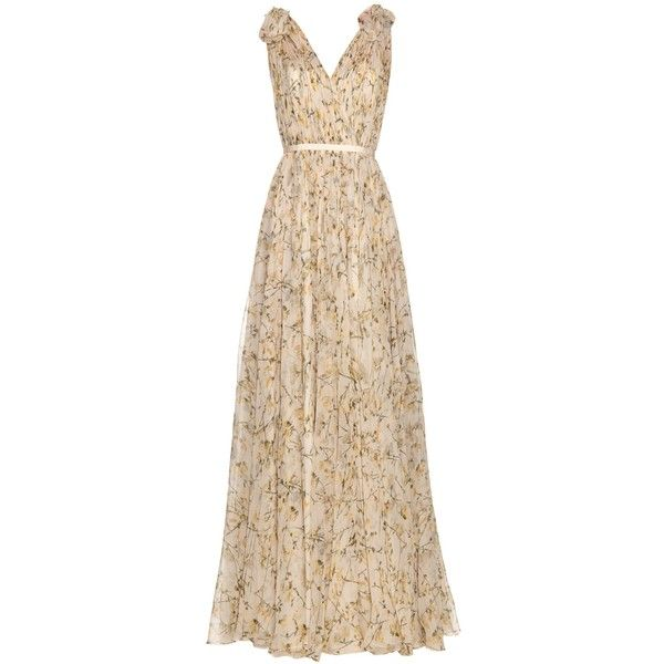Alexander McQueen Sweetpea-print silk-chiffon gown (€8.580) ❤ liked on Polyvore featuring dresses, gowns, evening gowns, alexander mcqueen, yellow print, yellow print dress, alexander mcqueen dresses, floor length evening dresses, floor length dresses and print dress