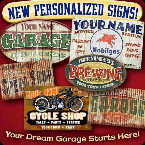 Garage Art Vintage Automotive Signs Posters Neon Clocks And - Signs of cars with names