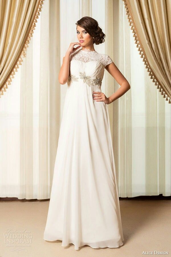Capped Sleeve Lace & Chiffon Empire Waist Wedding Gown by Alice ...