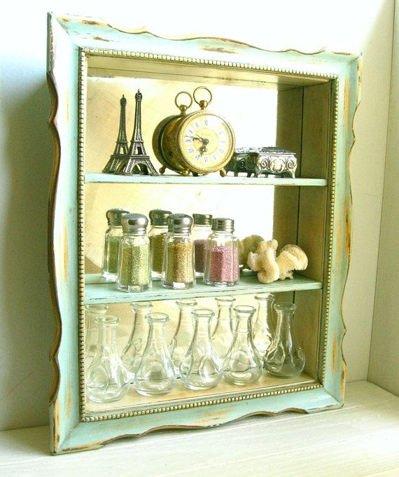 Aqua Mirrored Curio Shelf ......... Chalk Painted Wall Cabinet ...