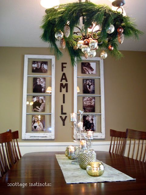 Clever DIY upcycle idea: Turn old windows into a wall decor picture frames.
