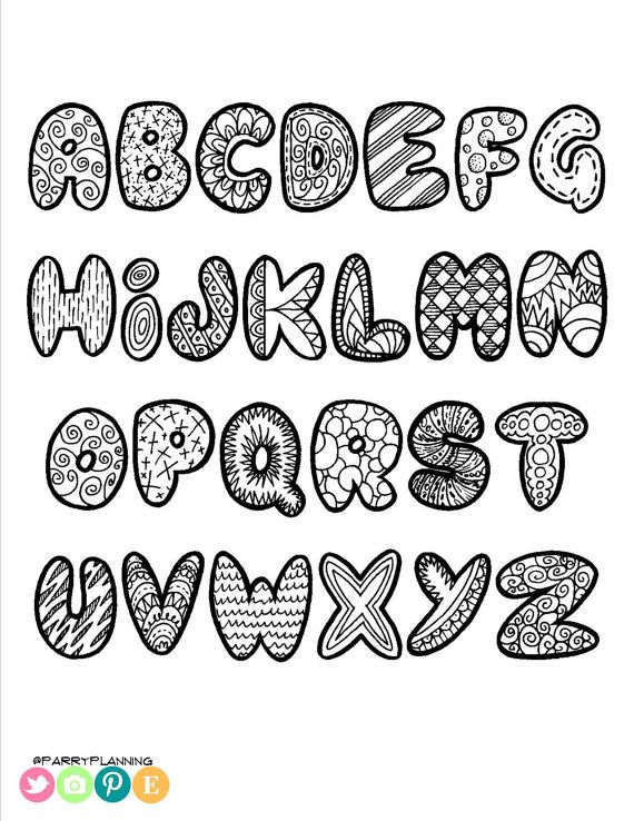 Printable Doodle Alphabet - Printable Alphabet Coloring ...