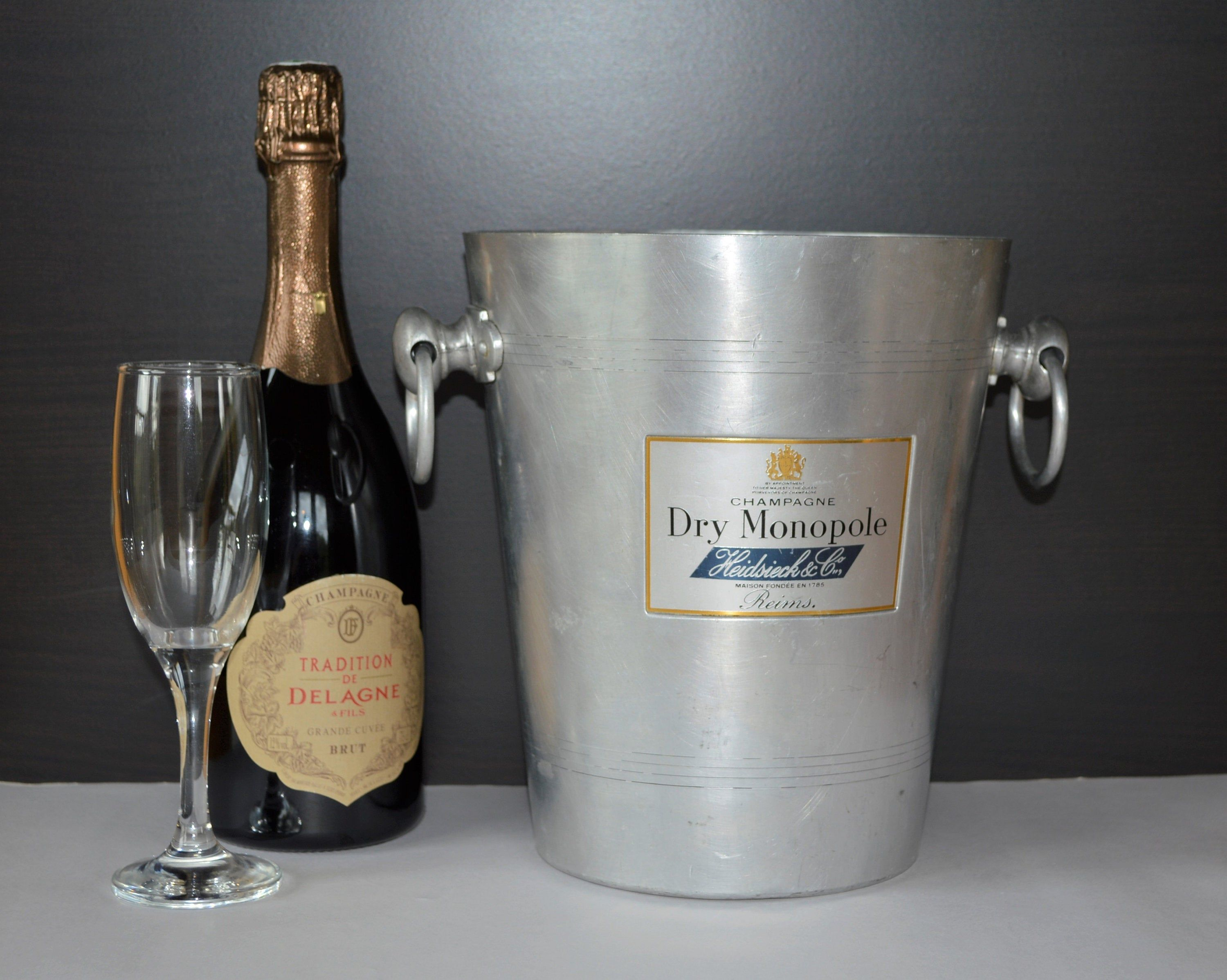 French Vintage Tall Champagne Bucket Magnum Heidsieck Dry Monopole Cooler Prosecco Wine Chiller Shabby Chic Barware Retro Dining Prosecco Wine Wine Chiller Champagne Buckets