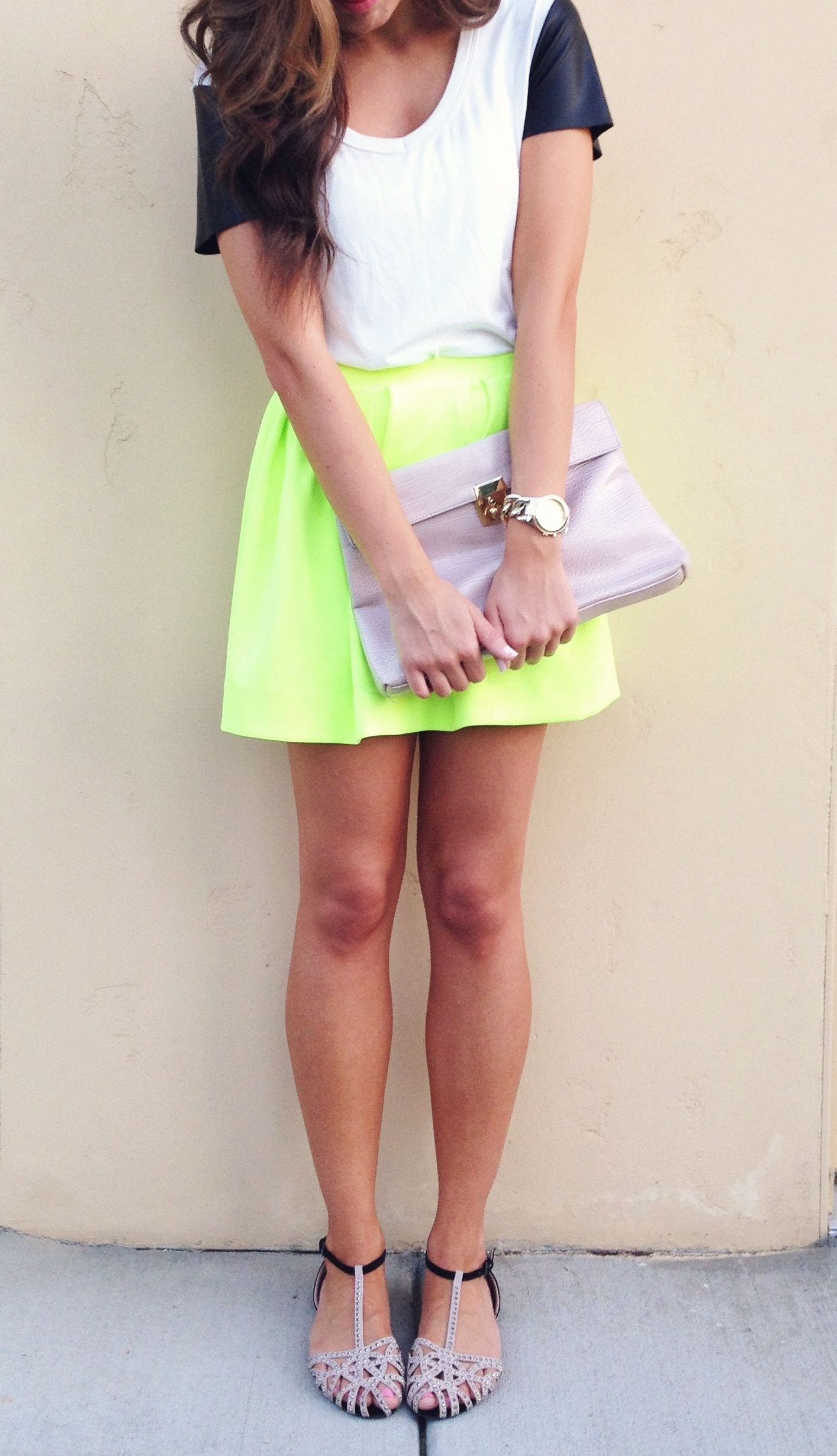 Yellow Neon skater skirt pictures rare photo