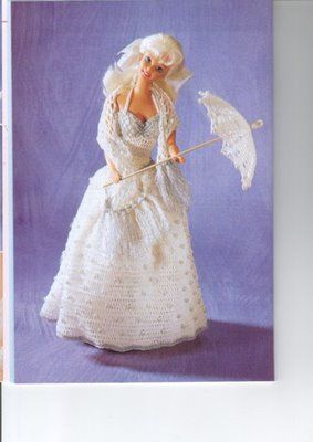 vestido blanco con sombrilla,crochet | labores de esther. todo para barbie