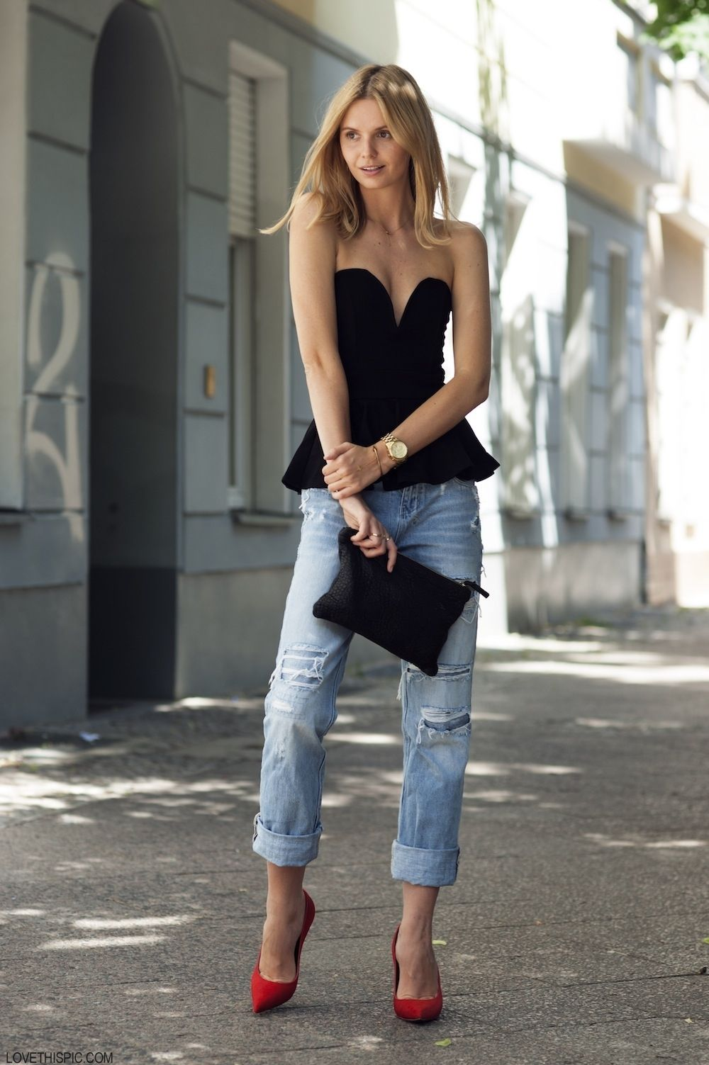 Street Style black heels jeans fashion photography