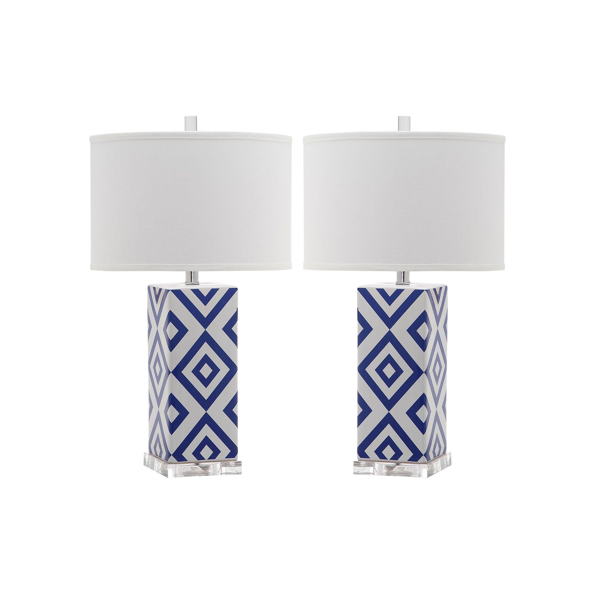 Safavieh 2 Piece Geometric Table Lamp Set, Blue (Navy)