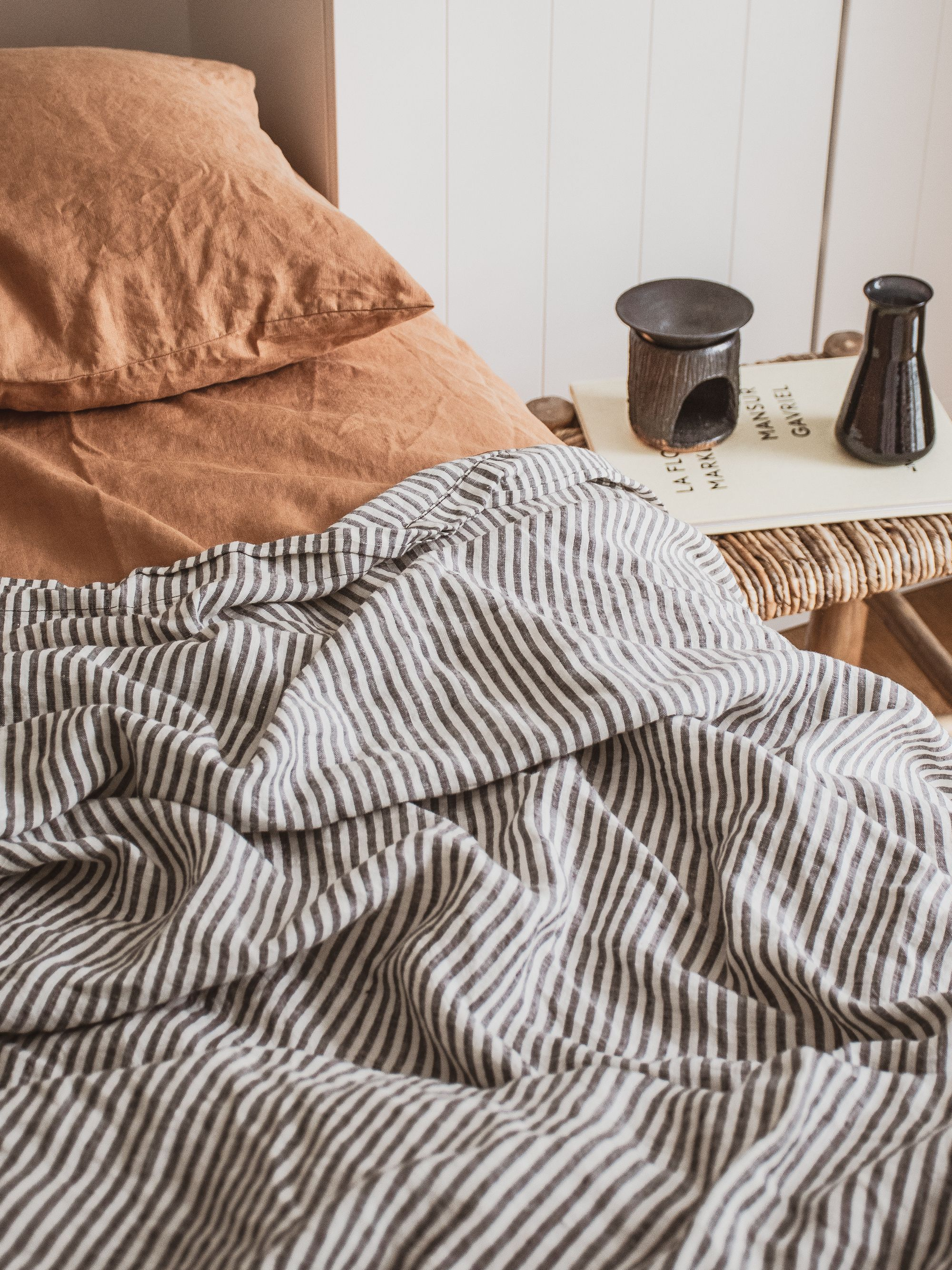 check out b7d95 c21fa A bedside table moment with French linen. Aesthetic Home ...
