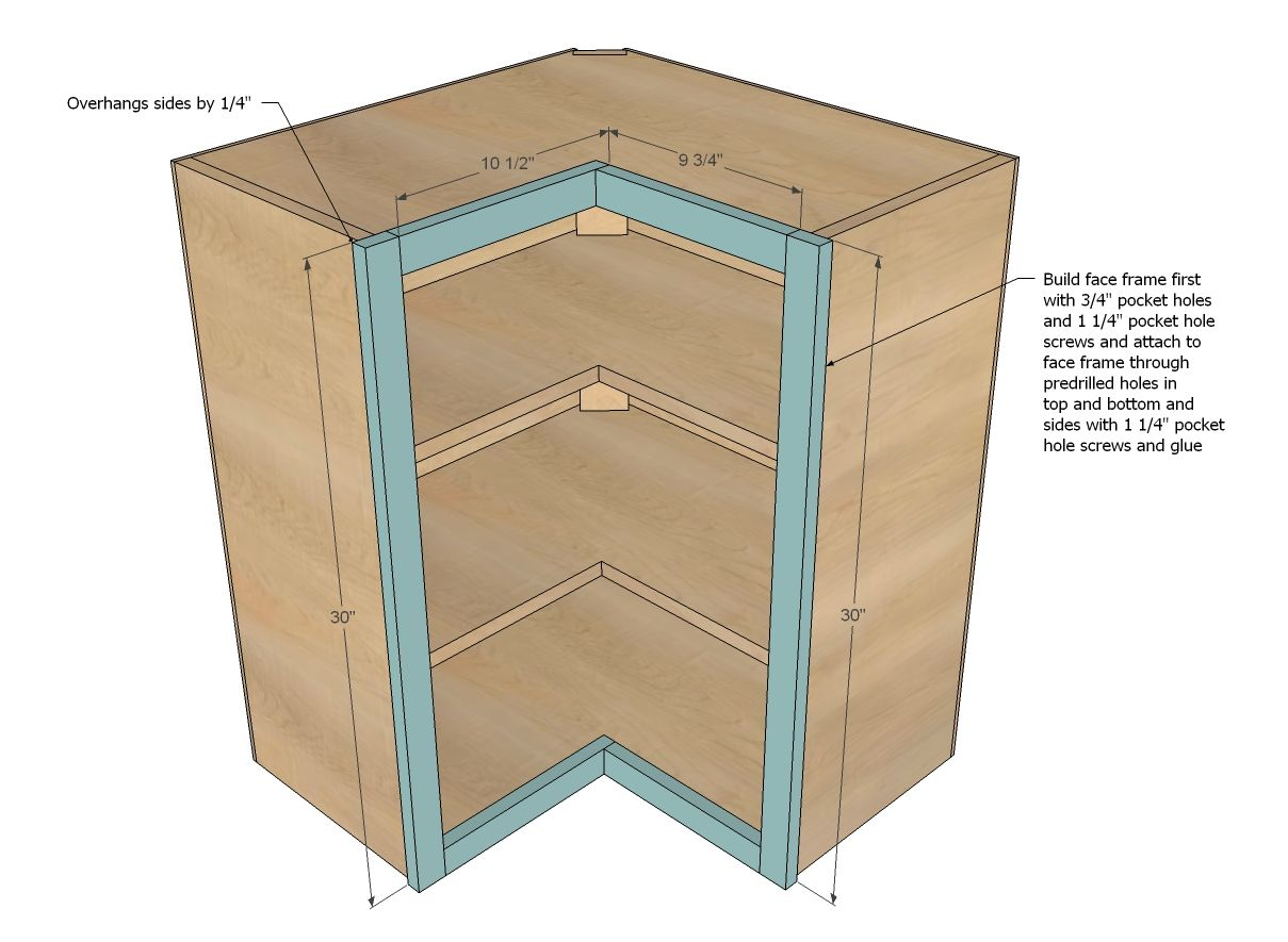 Ana White Build A Wall Corner Pie Cut Kitchen Cabinet Free And