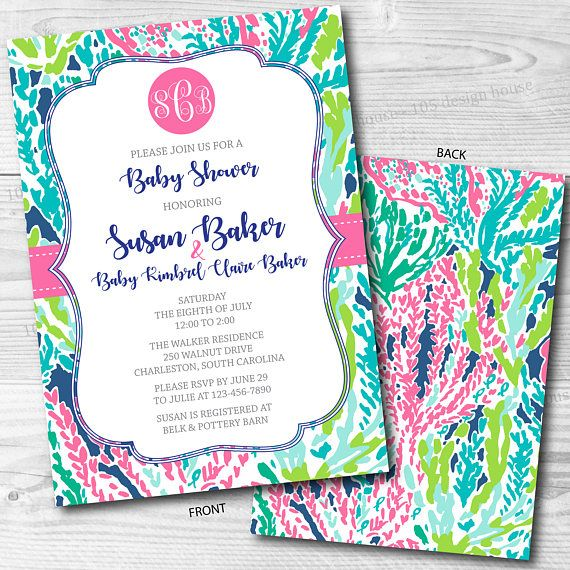 Lilly Pulitzer Invitation Front Back Printable Baby Shower
