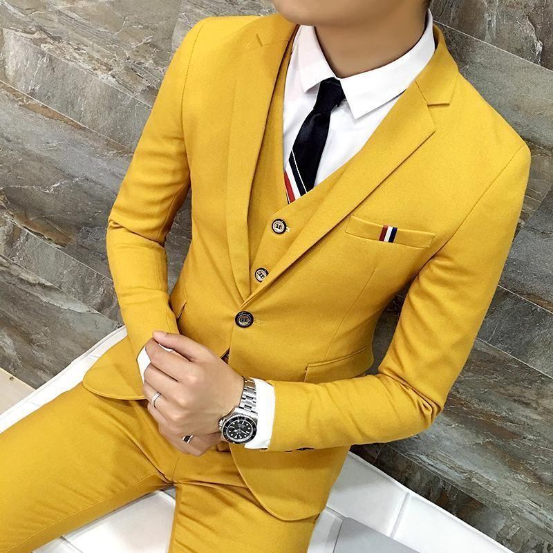 Three Piece Suit Mustard Colour Coat Pant