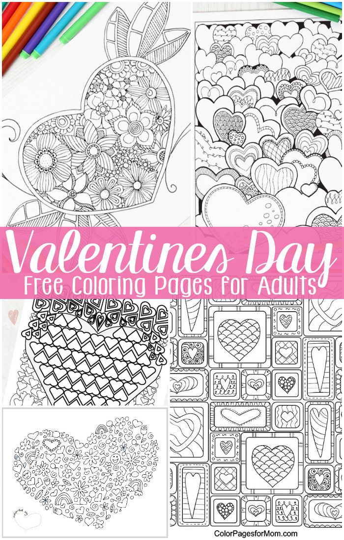 Free Valentines Day Coloring Pages for Adults | Colorear, Mandalas y ...