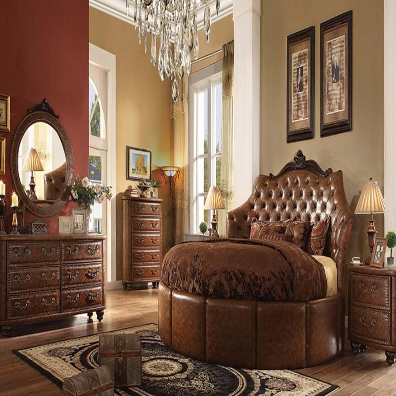 Formal Traditional Cherry Brown Round Bed Bedroom Set ...