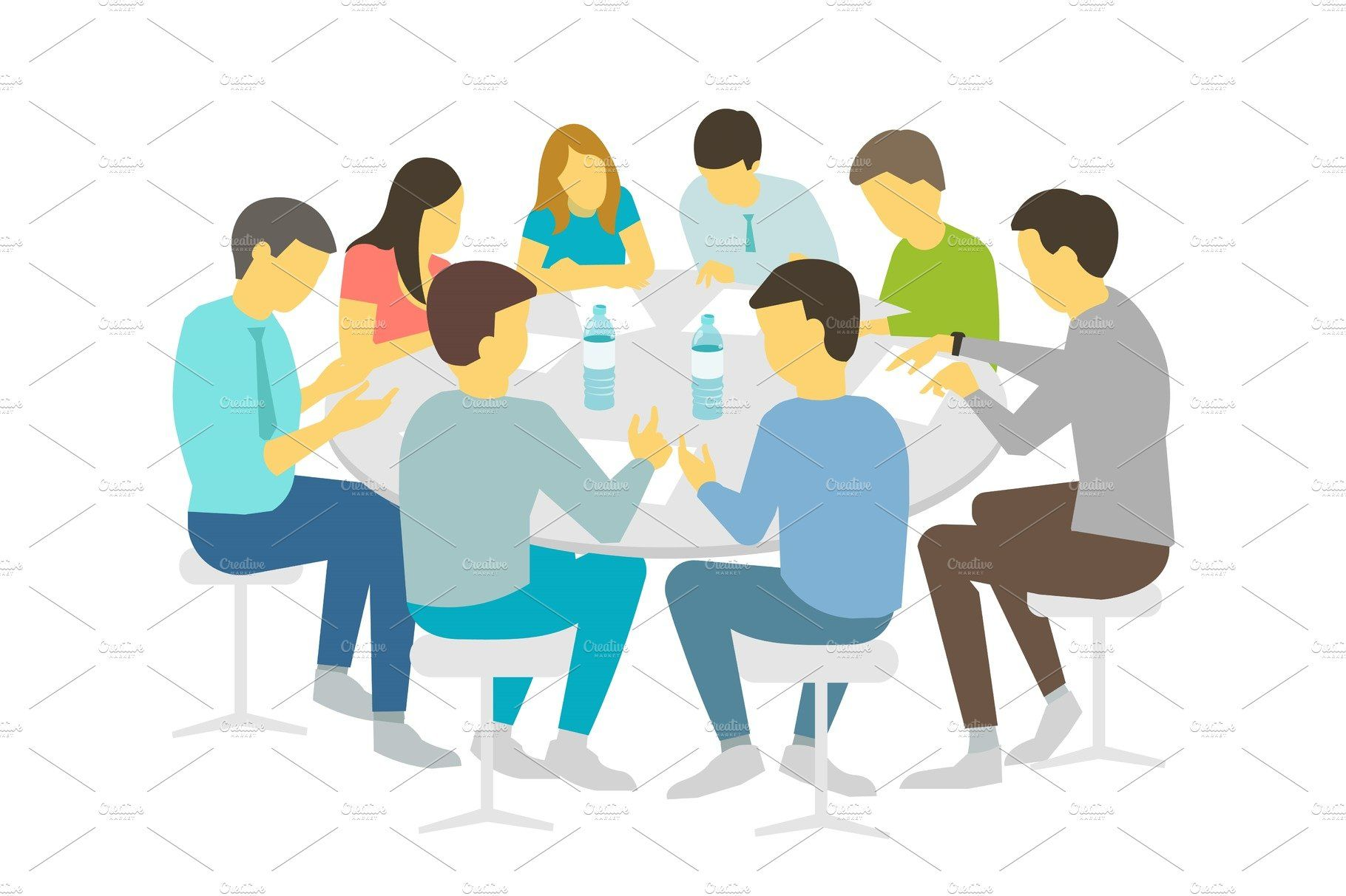 Round Table Talks Brainstorm Team Business People Meeting Conference Eight People White Background Stock Illustration Vector Refresher Courses In 2021 Illustration Unity In Art Stock Illustration
