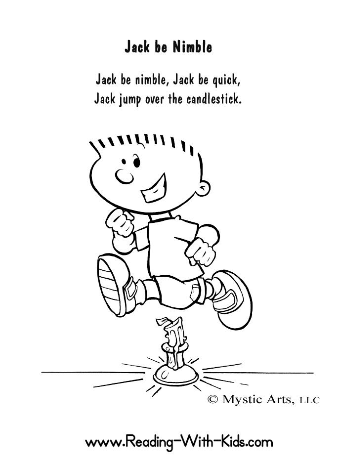 Jack Be Nimble Coloring Sheet Nurseryrhymes Nursery Rhymes