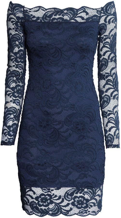 H M Off-the-shoulder Lace Dress - Dark blue - Ladies on shopstyle.com    guestdress d318e91483