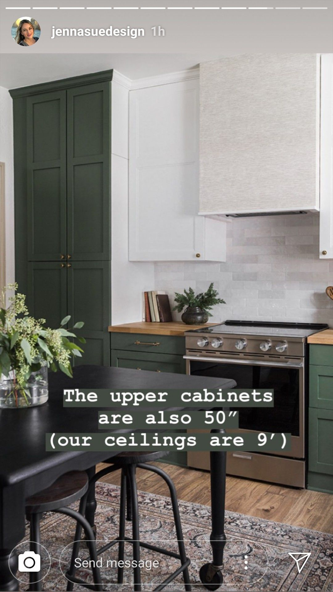 Jennasuedesign Uppers Are 50 Inches For 9 Foot Ceiling Benjamin Moore Peale Green In 2020 Home Kitchens Upper Cabinets Ikea Kitchen