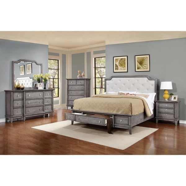 LYKE Home Stassi Grey Finish Faux Leather/ Pine/ Weed/ Veener Bed
