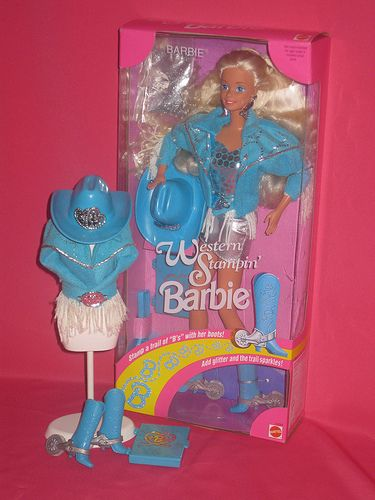 Turquoise Barbie House: 1993 Western Stampin' Barbie Doll #10293