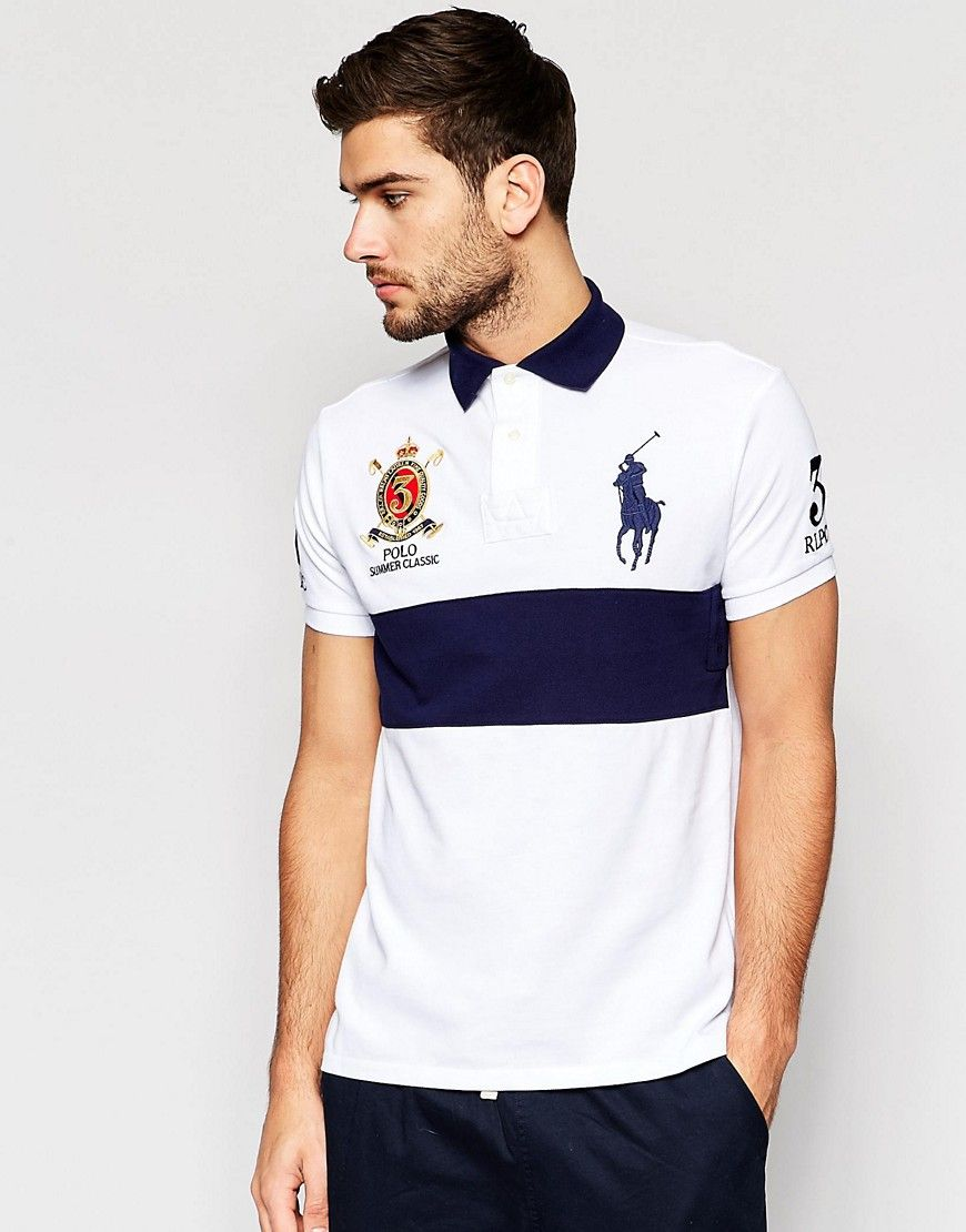 cbd5f44460b8 Polo+Ralph+Lauren+Polo+Shirt+in+Custom+Regular+Fit+With+Chest+Stripe ...
