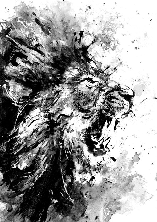 lion original acrylic painting black and white art wild