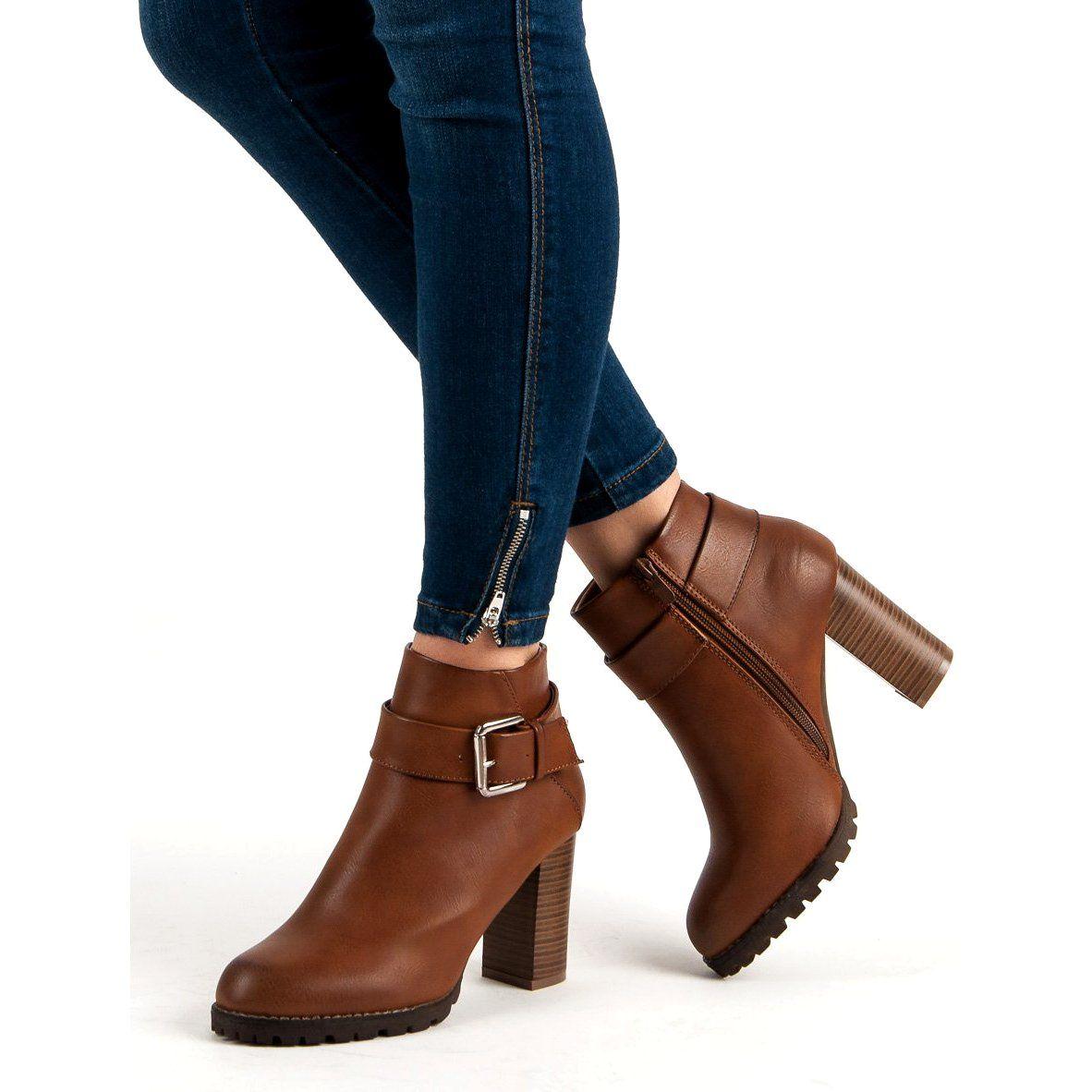 Super Mode Camelowe Botki Na Slupku Brazowe Ankle Boot Shoes Boots