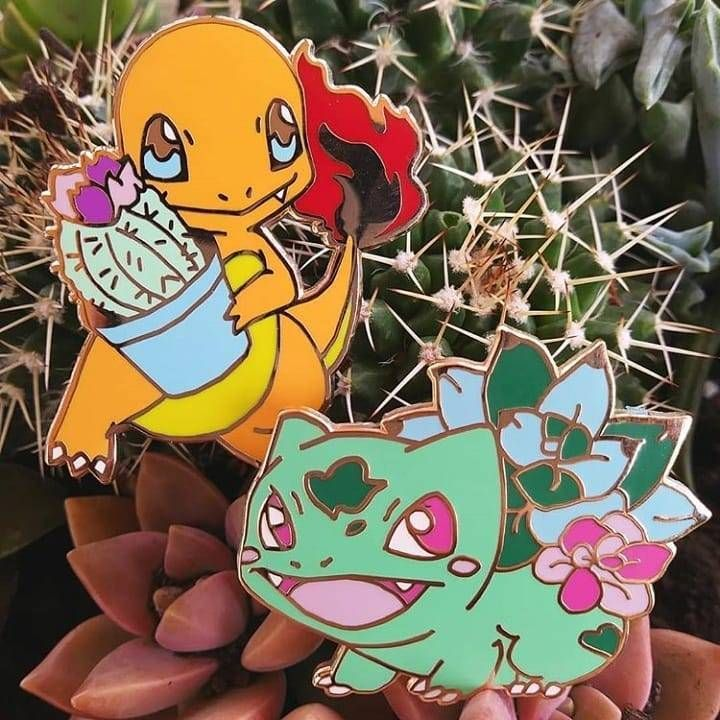 Floral Kanto Starter Pokemon Pins made by SlyBonsai -