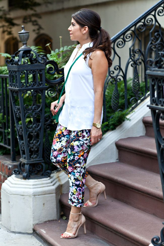 floral skirt with white top