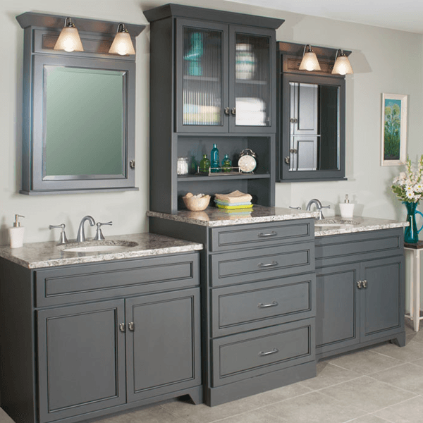 Woodpro gentry double vanity with storage tower master - Bathroom vanities with storage towers ...