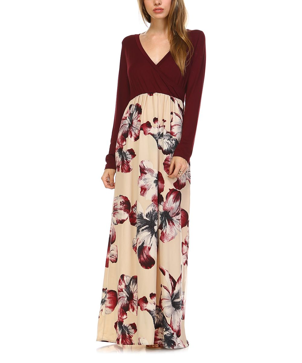 Burgundy u taupe floral vneck maxi dress taupe and products