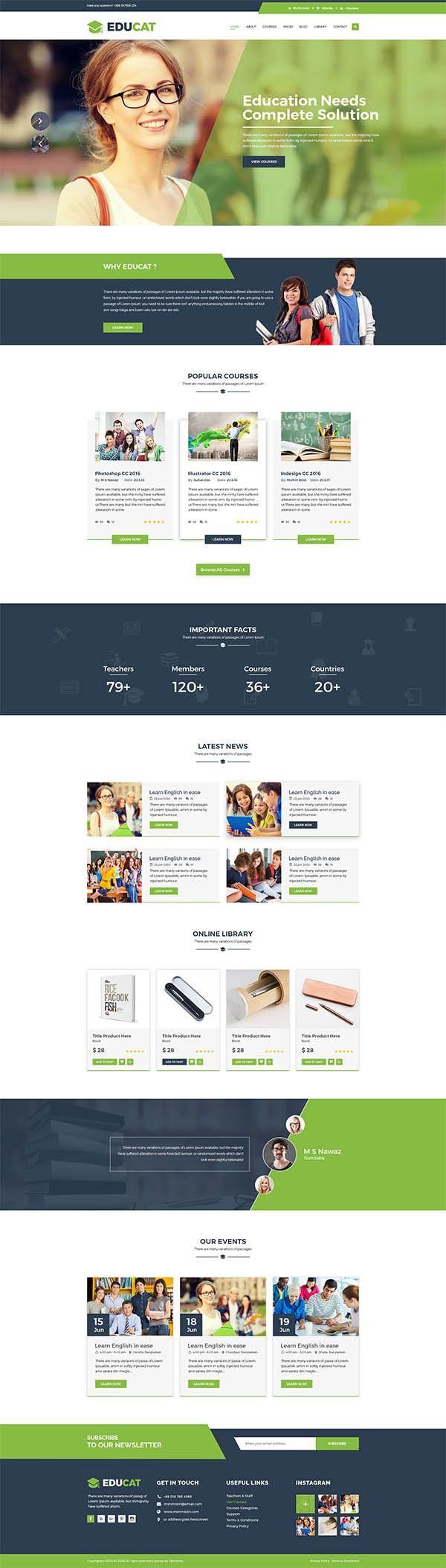 Educat - Education PSD Template | web page design | Pinterest ...