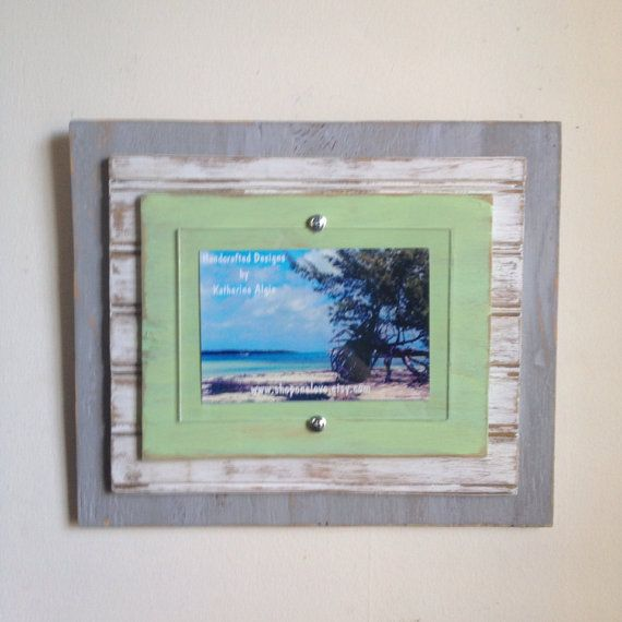 5x7 Distressed Handmade Picture Frame - Grey, White & Lime Green on ...
