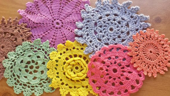 7 Hand Dyed Crochet Doilies Colorful Craft by rachaelsscraps