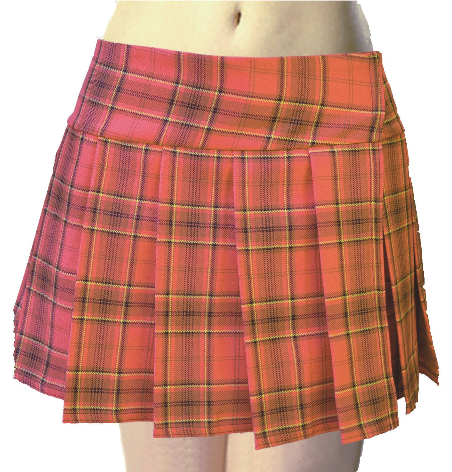86307a795 Plus Size Orange Schoolgirl Plaid Tartan Pleated Mini Skirt (Orange Plus- Mini)